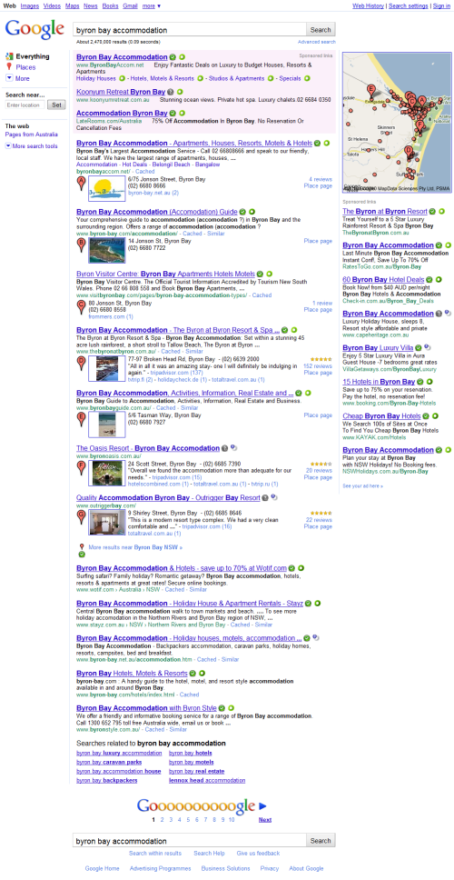 Google SERP with just 5 organic results!