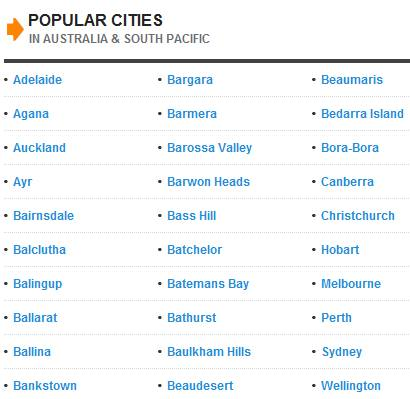 Popular cities in Australia and Pacific
