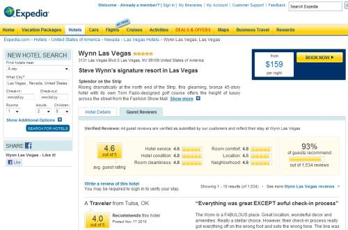 User reviews on Expedia