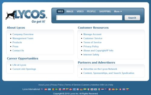 About Lycos is a list of links.