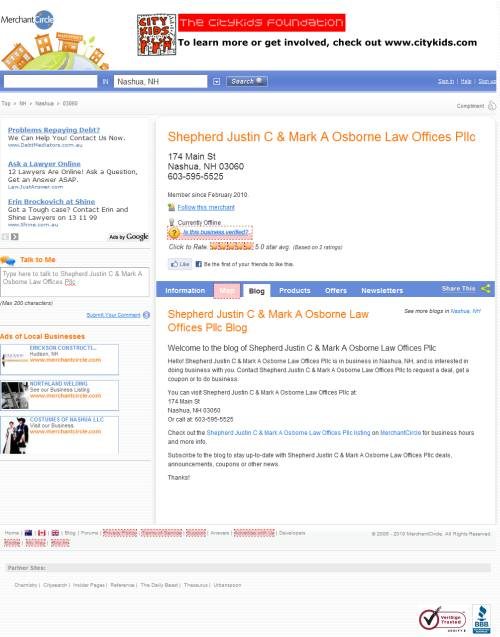 Business profile page in MerchantCircle.com
