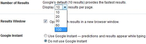 Change the number of results per page
