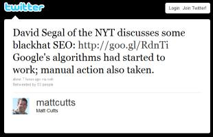 Matt Cutts' tweet
