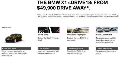 BMW X1 ad landing page