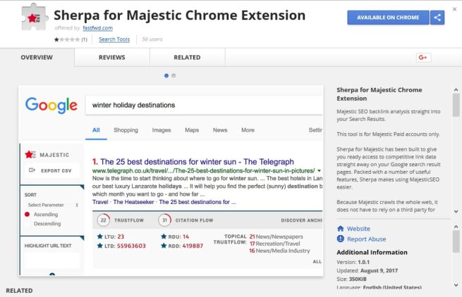 Sherpa for Majestic Chrome Extension – Review