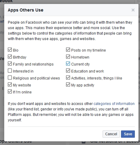 Permissions for other apps to use should be unchecked