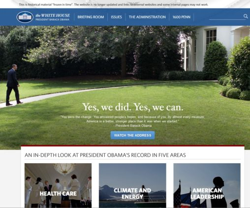 President Obama's whitehouse.gov pages archived